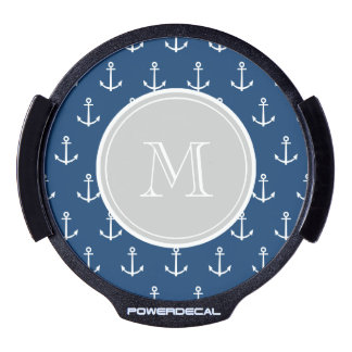 Navy Blue White Anchors Pattern, Gray Monogram LED Auto Decal
