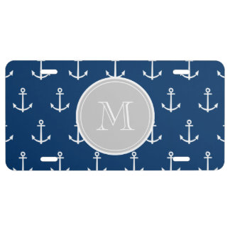Navy Blue White Anchors Pattern Gray Monogram License Plate