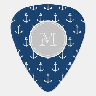 Navy Blue White Anchors Pattern, Gray Monogram Pick