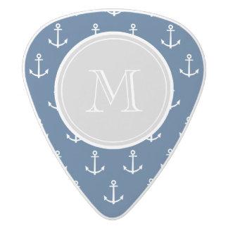 Navy Blue White Anchors Pattern, Gray Monogram White Delrin Guitar Pick