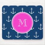 Navy Blue White Anchors Pattern, Hot Pink Monogram