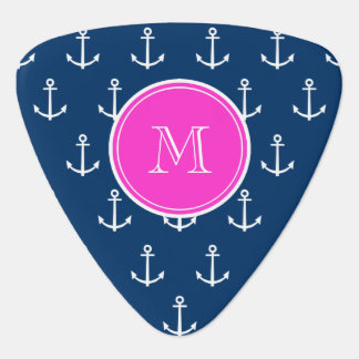 Navy Blue White Anchors Pattern, Hot Pink Monogram Pick