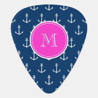 Navy Blue White Anchors Pattern, Hot Pink Monogram Guitar Pick