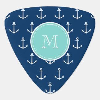 Navy Blue White Anchors Pattern, Mint Green Monogr Pick