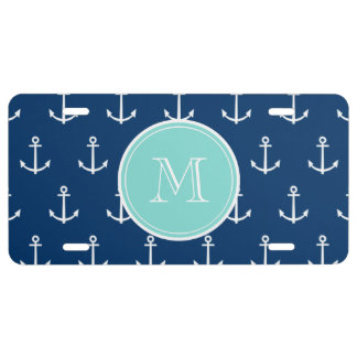Navy Blue White Anchors Pattern Mint Green Monogr License Plate