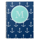 Navy Blue White Anchors Pattern, Mint Green Monogr Notebook