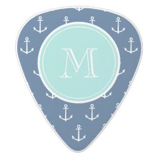 Navy Blue White Anchors Pattern, Mint Green Monogr White Delrin Guitar Pick