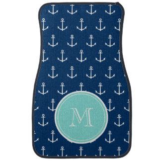 Navy Blue White Anchors Pattern, Mint Green Monogr Floor Mat