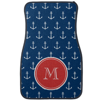 Navy Blue White Anchors Pattern, Red Monogram Car Liners