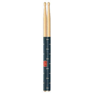 Navy Blue White Anchors Pattern Red Monogram Drum Sticks