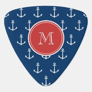 Navy Blue White Anchors Pattern, Red Monogram Pick