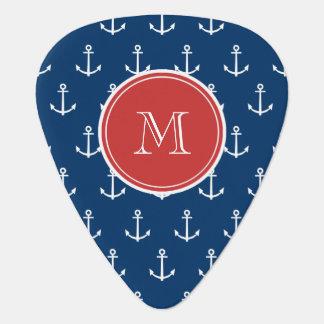 Navy Blue White Anchors Pattern, Red Monogram Guitar Pick