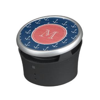 Navy Blue White Anchors Pattern, Red Monogram Bluetooth Speaker