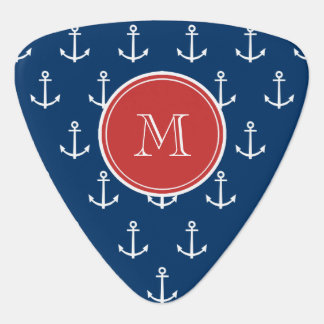 Navy Blue White Anchors Pattern, Red Monogram Pick