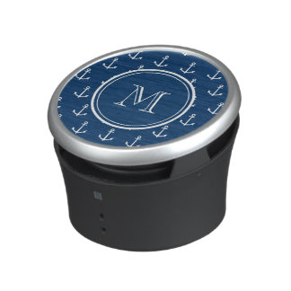 Navy Blue White Anchors Pattern, Your Monogram Bluetooth Speaker