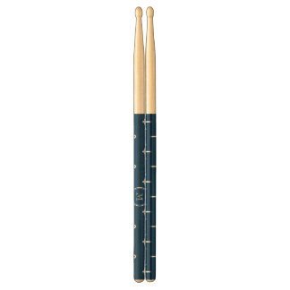 Navy Blue White Anchors Pattern, Your Monogram Drumsticks