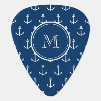 Navy Blue White Anchors Pattern, Your Monogram Guitar Pick