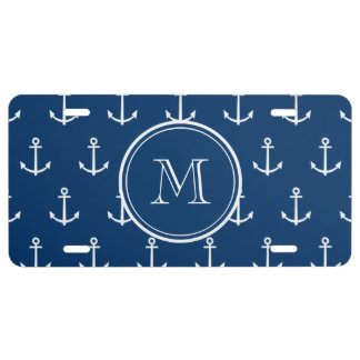 Navy Blue White Anchors Pattern, Your Monogram License Plate