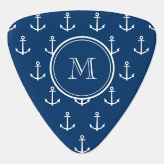Navy Blue White Anchors Pattern, Your Monogram Pick