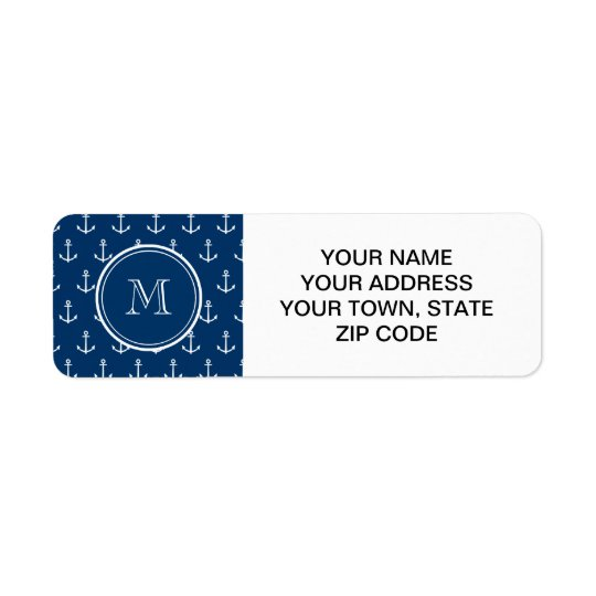Navy Blue White Anchors Pattern, Your Monogram Return Address Label
