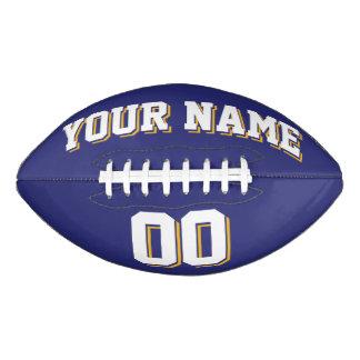 NAVY BLUE WHITE AND GOLD Custom Football