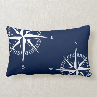 Navy Blue, White and Red Striped Lumbar Pillow