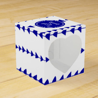 Navy Blue White Aztec Arrows Monogram Favor Box