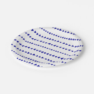 Navy Blue White Aztec Arrows Pattern Paper Plate