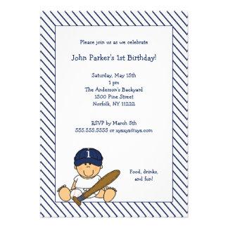 Navy Blue White Baseball 1st Birthday Party Invite
