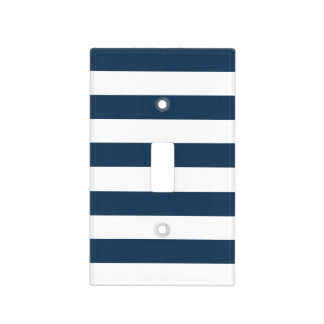 Navy Blue & White Bold Stripes Light Switch Cover
