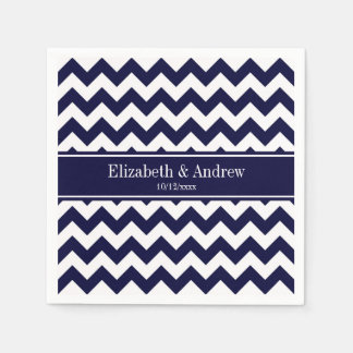 Navy Blue White Chevron Navy Name Monogram Paper Napkin