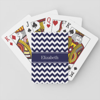 Navy Blue White Chevron Navy Name Monogram Playing Cards