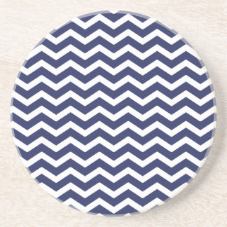 Navy Blue White Chevron Pattern Coaster