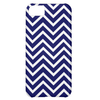 Navy Blue White Chevron Stripe iPhone 5 Case