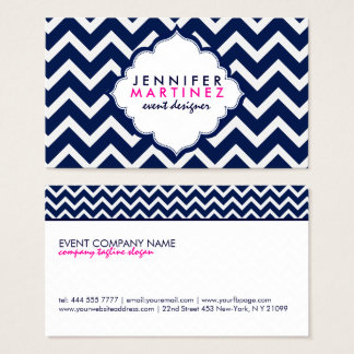Navy Blue & White Chevron Zigzag Pattern Business Card