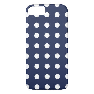 Navy Blue White Chic Polka Dot iPhone 7 Case