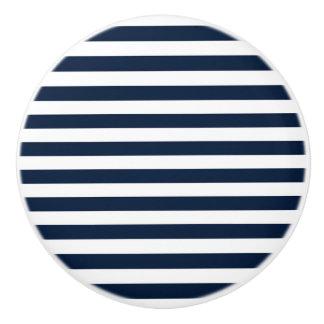 Navy Blue & White Chic Stripes Striped Dresser Ceramic Knob