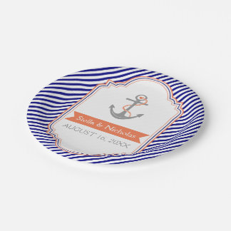 Navy blue, white coral anchor nautical wedding paper plate