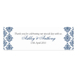 Navy Blue White Damask Floral Wedding Favour Tags Mini Business Card