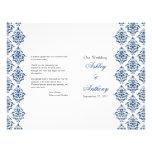 Navy Blue White Damask Foldable Wedding Program