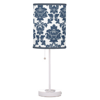 Navy Blue - White Damask Lamp Shade