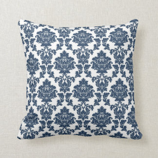Navy Blue - White Damask Pillow