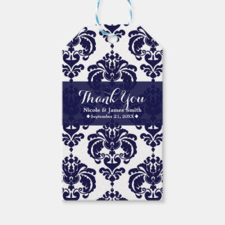 Navy Blue White Damask Vintage Wedding Event Favor Gift Tags