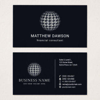 Navy Blue White Dollar Signs Sphere Accountant Business Card