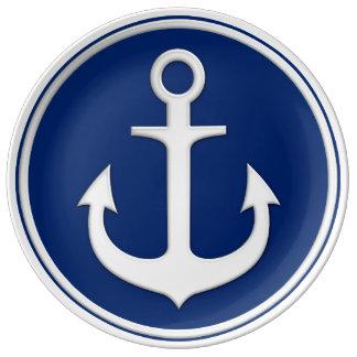 Navy Blue White Elegant Anchor Plate
