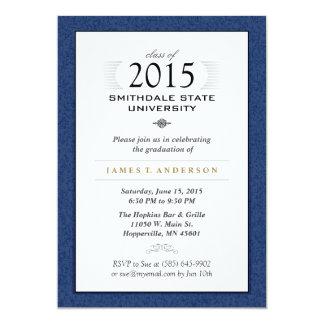 Navy Blue & White Formal Graduation Invitation
