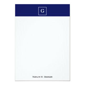 """Navy Blue White Framed Initial Monogram 5"""" X 7"""" Invitation Card"""