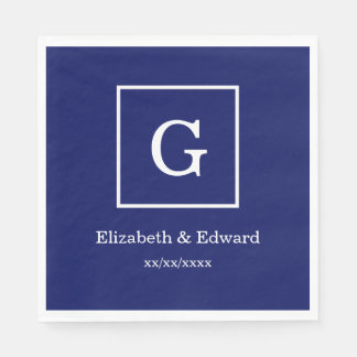 Navy Blue White Framed Initial Monogram Disposable Napkins