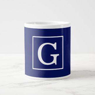 Navy Blue White Framed Initial Monogram Jumbo Mug