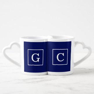 Navy Blue White Framed Initial Monogram Lovers Mugs